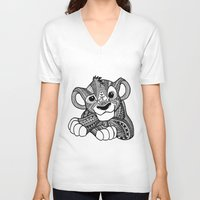 simba V-neck T-shirts featuring Zentangle Simba by ElFineLines