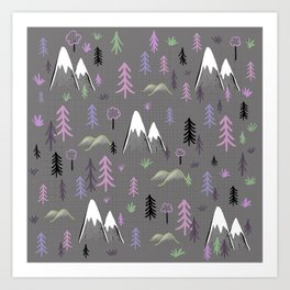 Hiking trees and mountains -pink Art Print