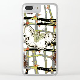 MOTHS ABSTRACT ON BLACKTHORNE LATTICE Clear iPhone Case