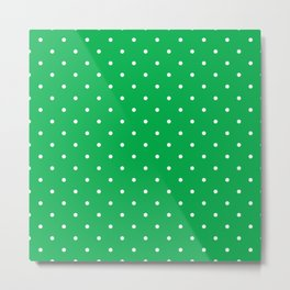 Small White Polka Dots with Green Background Metal Print