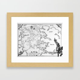 Dragon School Map Framed Art Print