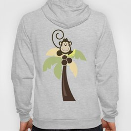Ahoy Mate Monkey on Palm Tree with Whale and Sailboat Hoody