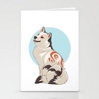 shiba inu Stationery Cards featuring Shiba Inu Kitsune by AlliePets