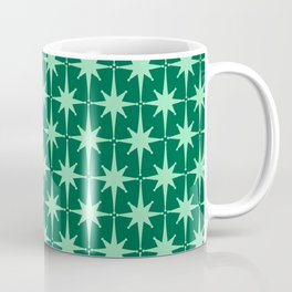 Midcentury Modern Atomic Age Starburst Pattern in Mint and Christmas Green Coffee Mug
