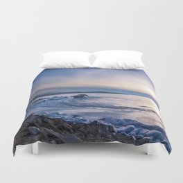 Abandoned ship at frozen wharf Duvet Cover