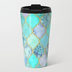 Cool Jade & Icy Mint Decorative Moroccan Tile Pattern Travel Mug
