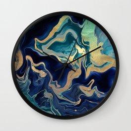 DRAMAQUEEN - GOLD INDIGO MARBLE Wall Clock