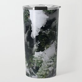 Snow Frosted Pines Travel Mug