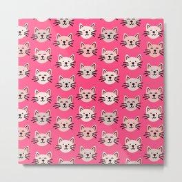 Cute cat pattern in pink Metal Print