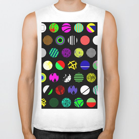 Eclectic Circles - Abstract collage of random, colourful, bold, eclectic circles Biker Tank