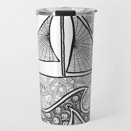 Doodle Boat Coloring Page and Color-in  Travel Mug