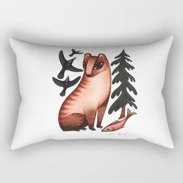 Black Bear, Red Heart Rectangular Pillow