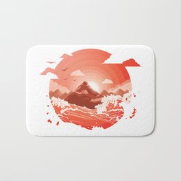 Red bloody sunset over the mountain Art Bath Mat