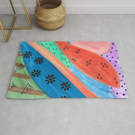 Groovy Mixed Media Multicolor Watercolor and Sharpie Pen Design Rug