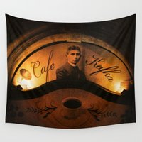 cafe Wall Tapestries featuring Cafe Kafka by Bella Blue Photography