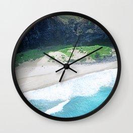 Exotic Tropical White Sand Beach & Dramatic Ocean Surf Wall Clock