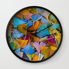 Fallen Ginkgo Leaves Wall Clock