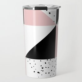 Geometrical pink black gray watercolor polka dots color block Travel Mug