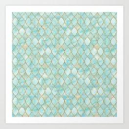 Luxury Aqua and Gold oriental pattern Art Print