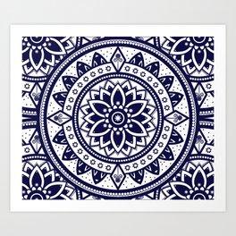 Mandala Blue Spiritual Zen Bohemian Hippie Yoga Mantra Meditation Kunstdrucke