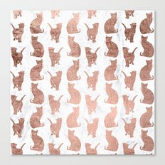 Modern faux rose gold cats pattern white marble Canvas Print