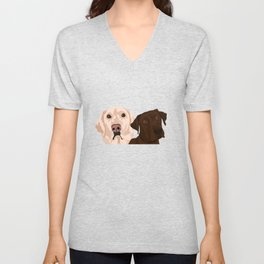 2 Labradors Unisex V-Neck