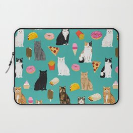 Cat breeds junk foods ice cream pizza tacos donuts purritos feline fans gifts Laptop Sleeve