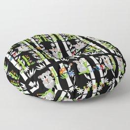 Cute pair of Koalas - Black Floor Pillow