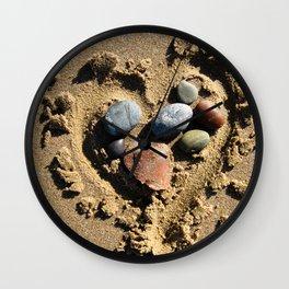 Stones in a Sandy Heart Wall Clock