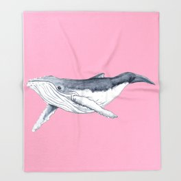 Cute Baby humpback whale pink for girls Throw Blanket