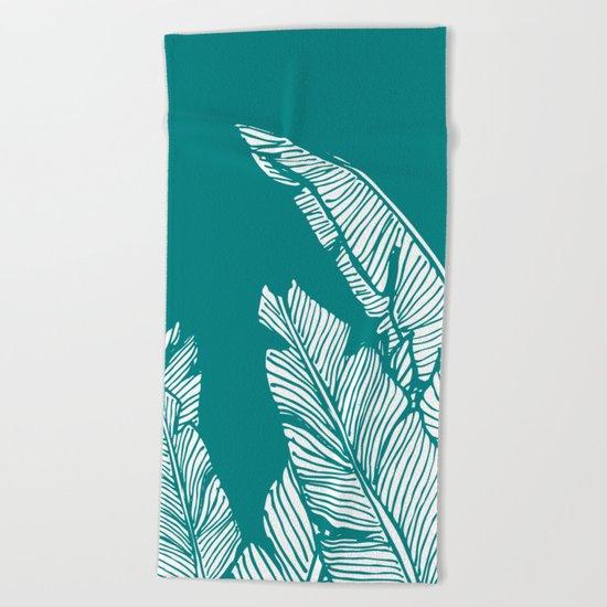 Banana Leaves on Teal #society6 #decor #buyart Beach Towel