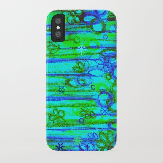 WINTER GARDEN -Bright Blue Green Neon Snowflake Floral Abstract Watercolor Painting and Digital Art iPhone Case