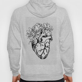 Floral Mexican Heart - black and white Hoody