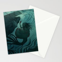 The day a mermaid found a shipwreck Stationery Cards