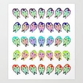 Many Faces (Rainbow) Art Print