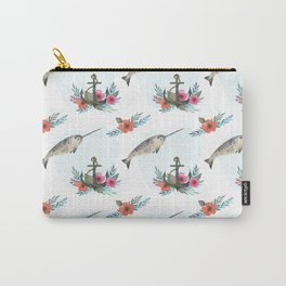 Summertime Nautical Narwhal Carry-All Pouch