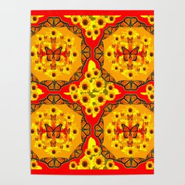 LACY RED-GOLD YELLOW SUNFLOWERS & MONARCH BUTTERFLIES Poster