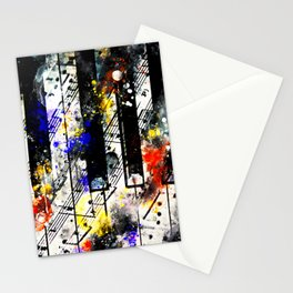 piano keys and music sheet pattern wsstd Stationery Cards