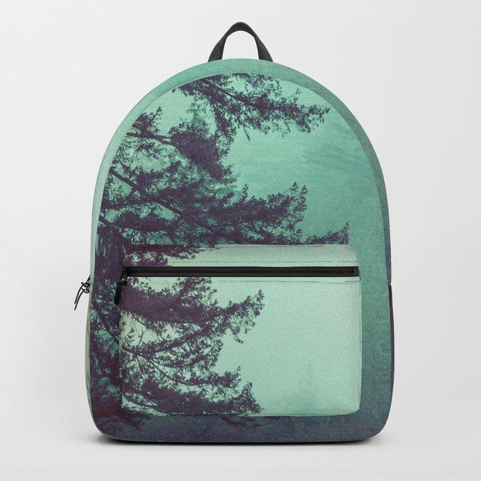 Forest Fog Fir Trees Backpack