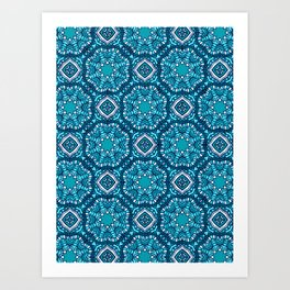 Moroccan Tile Pattern - Turquoise Art Print