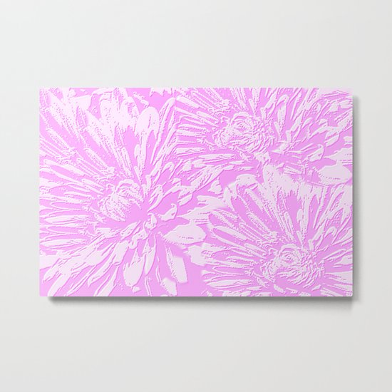 In The Pink Floral Abstract Metal Print