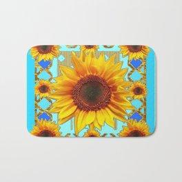 Blue Shades Yellow Sunflowers  Art Bath Mat