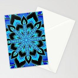 Blue on Blue Flower Mandala Stationery Cards