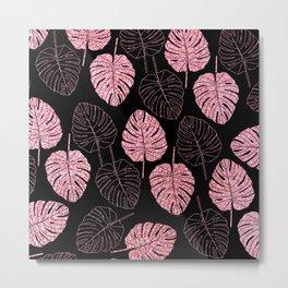 Abstract tropical pink black monster leaves pattern Metal Print