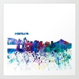 Portland Oregon Skyline Silhouette Impressionistic Blast Art Print