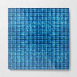 Ocean Blue and Pale Velvety Gingham Plaid Texture Metal Print