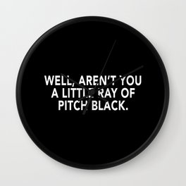 Ray of Pitched Black - Typography Wall Clock