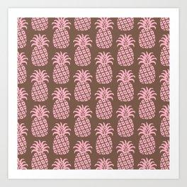Mid Century Modern Pineapple Pattern Pink and Brown Art Print