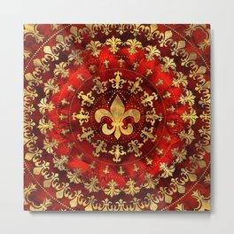 Fleur-de-lis ornament Red Marble and Gold Metal Print