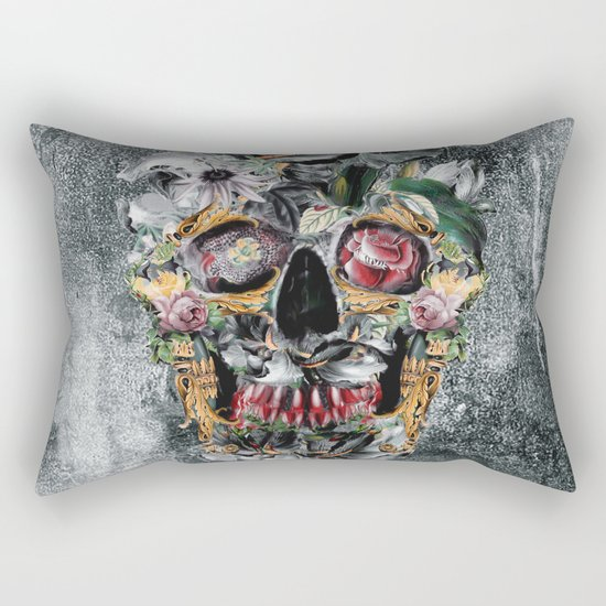 Skull on old grunge III Rectangular Pillow